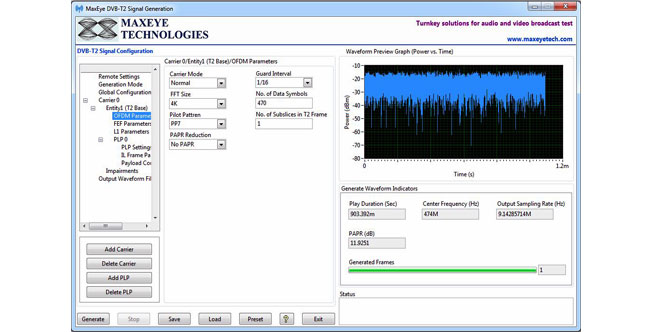DVB-T2 Signal Generation Toolkit: Specialized in Signal